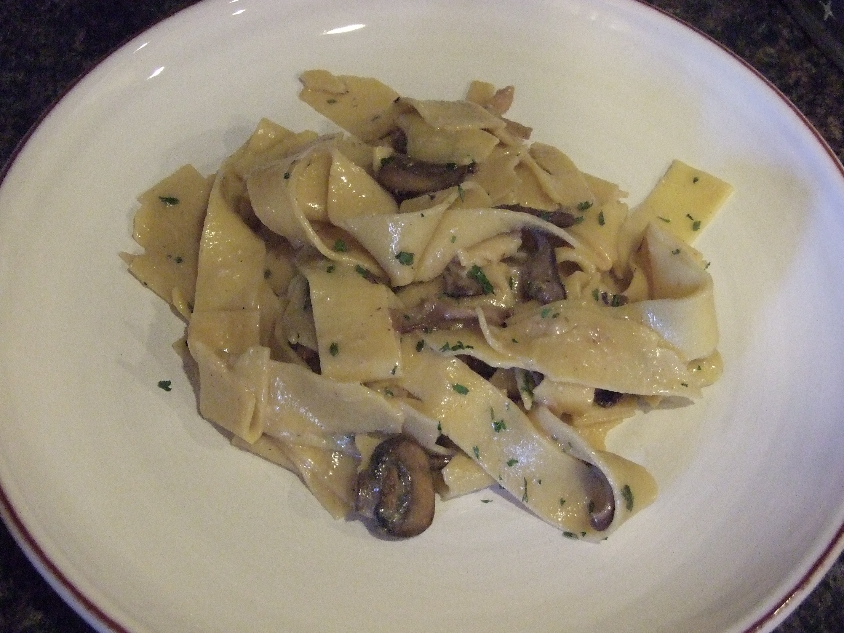 with mushrooms cheese and parsley until pasta is coated and cheese ...